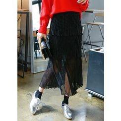 J-ANN - Glittered Long Tiered Skirt