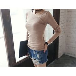 DANI LOVE - Asymmetric-Neckline Plain T-Shirt