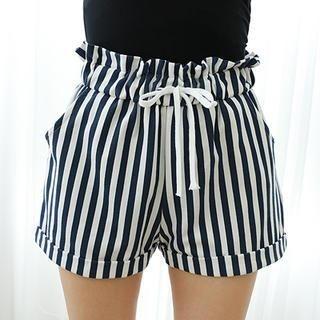 Dodostyle - Stripe Drawstring-Waist Shorts