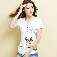 Euphoria - 短袖印花扣領衫