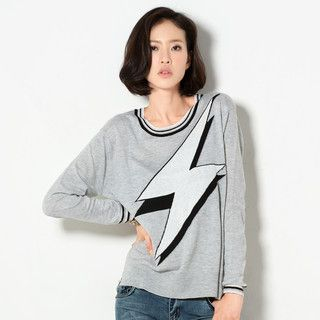 59 Seconds - Lightning Print Knit Sweater