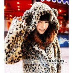 Fluff Snowy - 豹纹仿毛连帽夹克