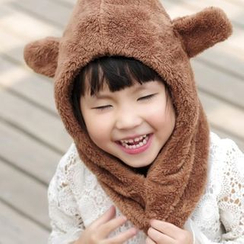 Fluff Snowy - Bear Ear Neck Warmer Hat