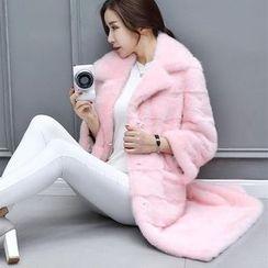 Fluff Snowy - 童装仿毛平驳领大衣