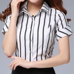 In the Mood - Pinstripe Short-Sleeve Blouse