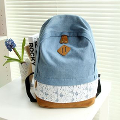 Golden Kelly - Lace Panel Denim Backpack