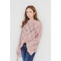 migunstyle - Kimono-Sleeve Pointelle Sweater