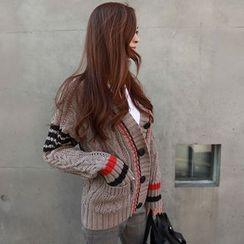 NIPONJJUYA - Contrast-Trim Cable-Knit Cardigan