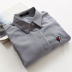 Bonbon - Heart Embroidered Striped Long-Sleeve Shirt