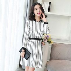 Emeline - Striped Long-Sleeve A-Line Dress