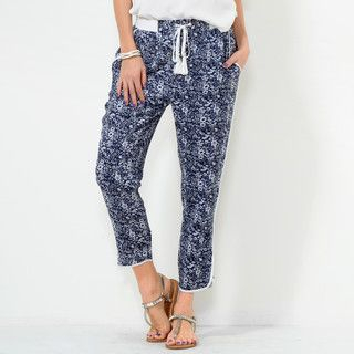 59 Seconds - Floral Drawcord Cropped Pants