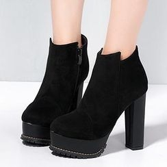 Mancienne - Platform Chunky-Heel Ankle Boots