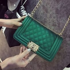 BAGSHOW - Chain Strap Quilted Crossbody Bag