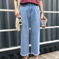 Dasim - Fray Hem Wide Leg Cropped Jeans