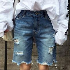 QNIGIRLS - Distressed Denim Shorts