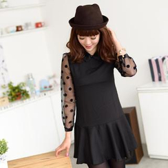 59 Seconds - Dotted Sheer Sleeve Collared Dress