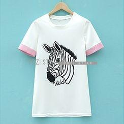 YOZI - Short-Sleeve Zebra Print T-Shirt