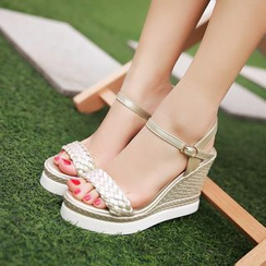 Pastel Pairs - Woven Wedged Sandals