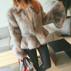 DABAGIRL - Ruffle-Hem Faux-Fur Jacket