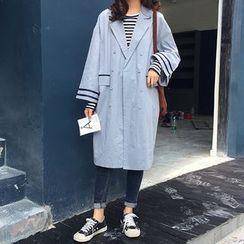 Sinbounboun - 條紋長款風衣