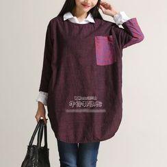YORU - 图案拼接长袖裙衣