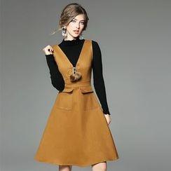 欧依潮派 - 套装: 针织上衣 + 背带裙