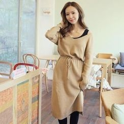 REDOPIN - Wool Blend Drawstring-Waist Knit Dress