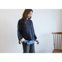 Hello sweety - Contrast-Trim Knit Top