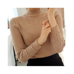 LEELIN - Mock-Neck Wool Blend Knit Top