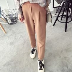 Qimi - Plain Slit Hem Pants