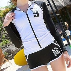 DJ Design - Set: Lettering Zip Hooded Rashguard + Tipped Swim Shorts