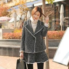 Cherryville - Set: Piped Tweed Jacket + Mini Skirt