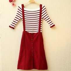 Munai - Set: Striped Knit Top + Suspender Skirt
