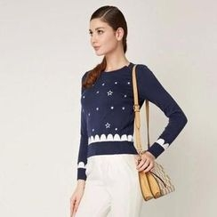 O.SA - Star-Embroidered Knit Top