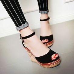 Pangmama - Peep-Toe Wedge Sandals