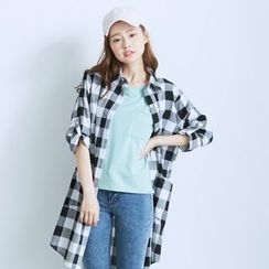 BAIMOMO - Long-Sleeve Check Long Blouse