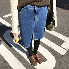 Sinbounboun - 不對稱牛仔布裙