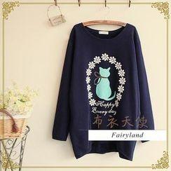 Fairyland - Long-Sleeve Cat Print T-Shirt
