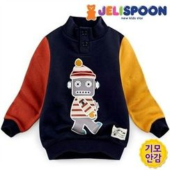 JELISPOON - Boys Robot Print Brushed-Fleece Line Pullover