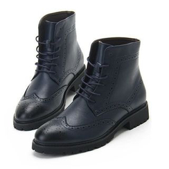 Hipsteria - Lace-Up Brogue Short Boots