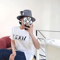 DISCOSALON - Round-Neck Lettering T-Shirt