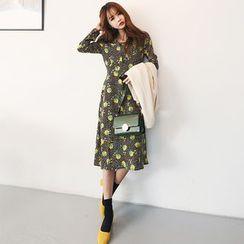 DABAGIRL - Long-Collar Floral Pattern Midi Dress