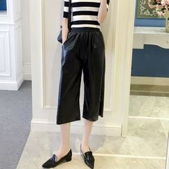 RUI - Capri Faux Leather Wide-Leg Pants