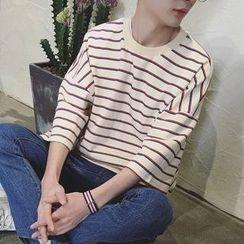 ZZP HOMME - Stripe 3/4 Sleeve T-Shirt