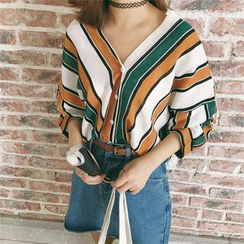 MePanda - Striped V-Neck Blouse