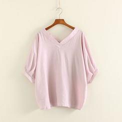 Mushi - V-Neck Elbow Sleeve T-Shirt