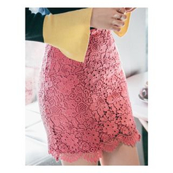 Chlo.D.Manon - Crochet-Lace Mini Pencil Skirt