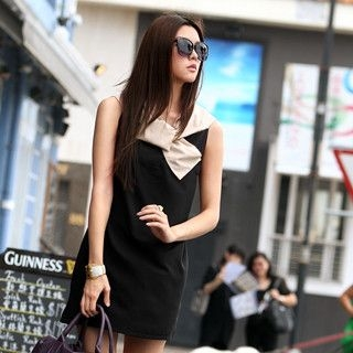 59 Seconds - Twist-collar Half-bow Dress