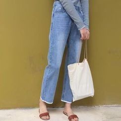OCTALE - Washed Straight Leg Jeans