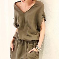 Jolly Club - Banded-Waist Short-Sleeve Dress